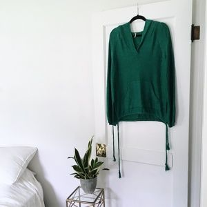 Free People Kelly Green Hooded Pullover